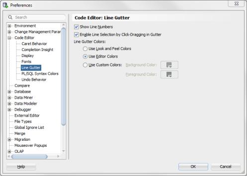 Code Editor: Line Gutter SQL Developer